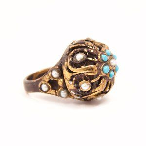 Gilded Cage Turquoise & Pearl Ring // Handmade
